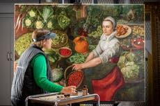 Dutch vegetable seller's smile removed after transformative restoration by conservators