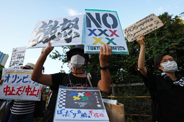 People protest against the Tokyo 2020 Olympic Games in Tokyo, 日本
