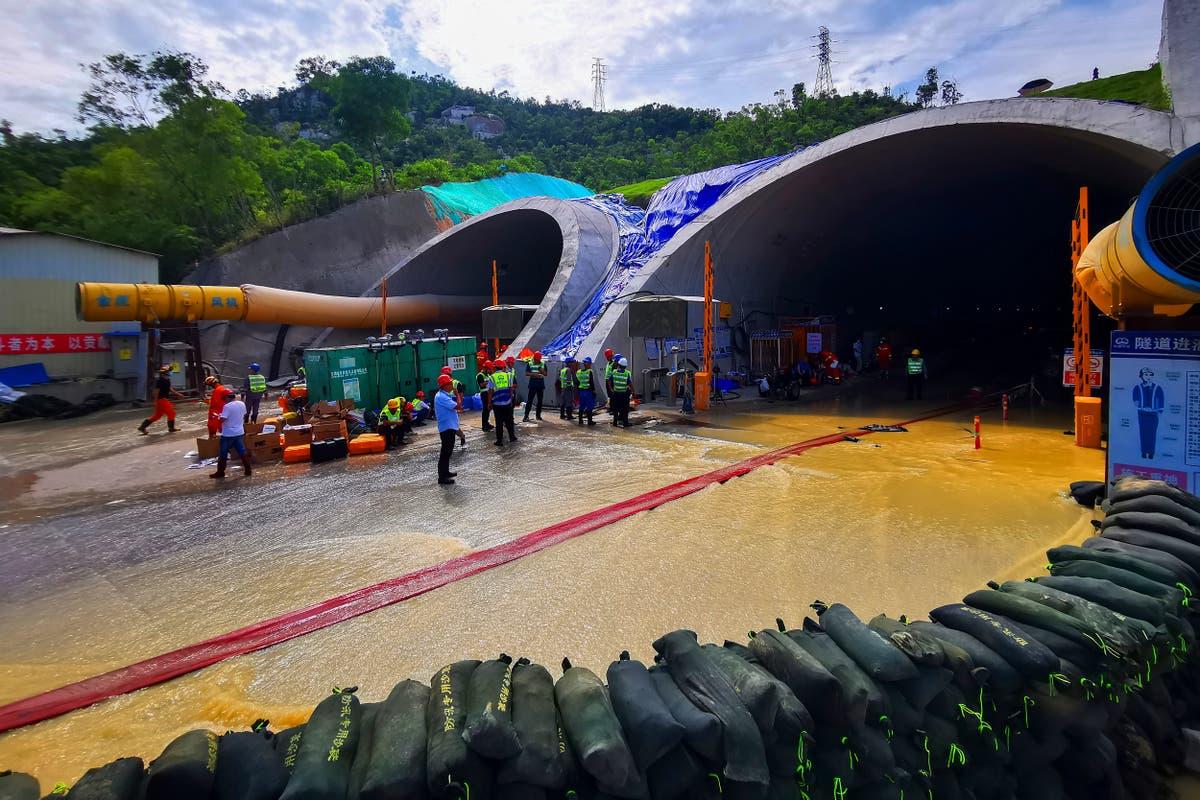 全部 14 中国隧道洪水中丧生的工人确认死亡