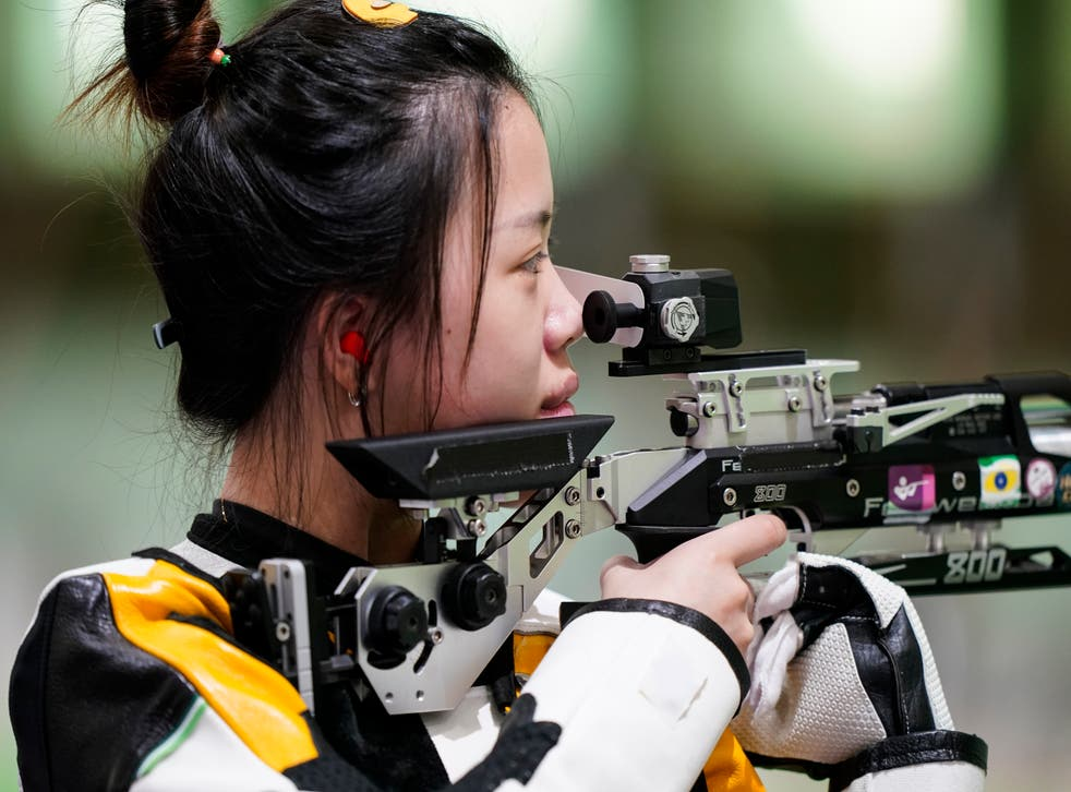 <p>China's Yang Qian won the first gold medal of the day when she beat the competition in the women's 10m air rifle final. </p>