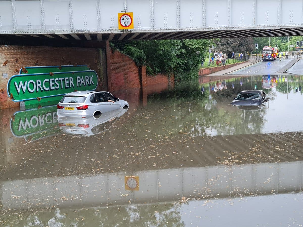 Parts of London flooded as post-heatwave thunderstorm warning issued