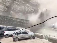 Video shows moment deadly rockslide wipes out large bridge in northern India