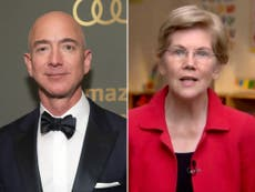 'He can afford to pitch in': Elizabeth Warren slams Jeff Bezos for shooting himself into space while half of the US scrapes by