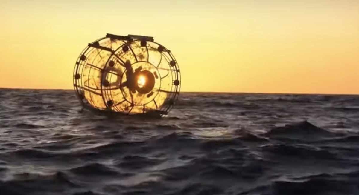 Man in floating hamster wheel washes up on beach in failed bid to cross ocean