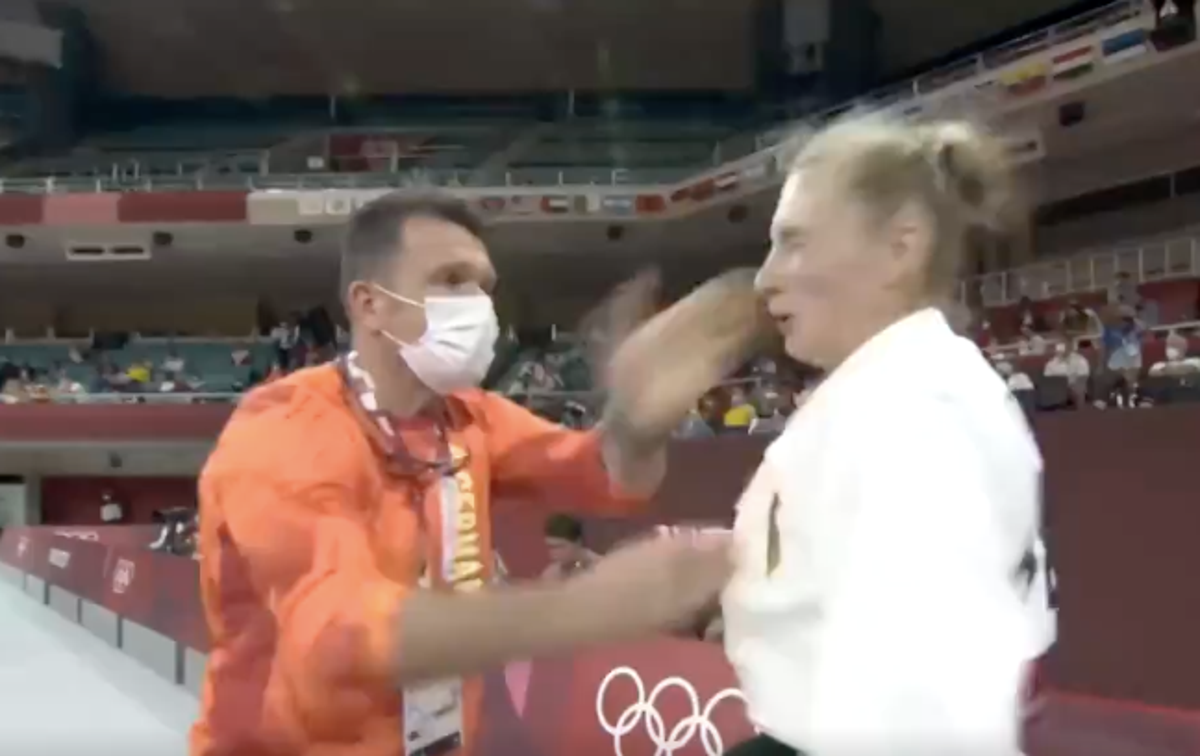 Judo star defends coach after viewers stunned by slapping preparation