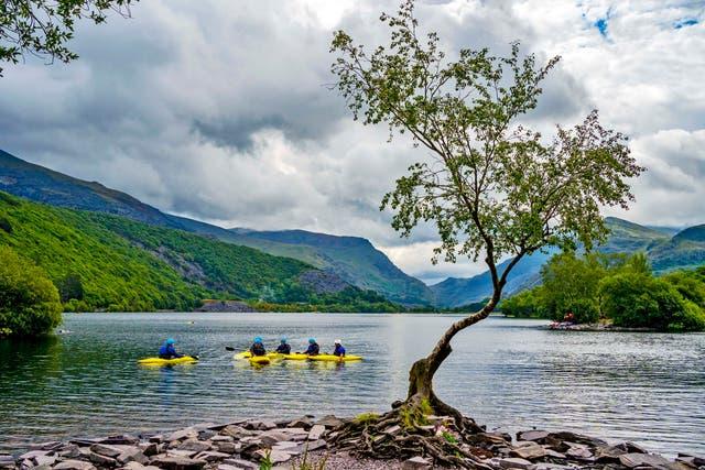 Kano's op die Llyn Padarn -meer in Snowdonia, Gwynedd. Daar is aangekondig dat die noordwestelike Wallis-lei-landskap UNESCO-wêrelderfenisstatus verwerf het