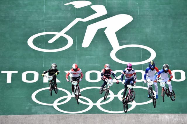 Athletes compete in the BMX men's Olympic quarter-finals run at the Ariake Urban Sports Park in Tokyo