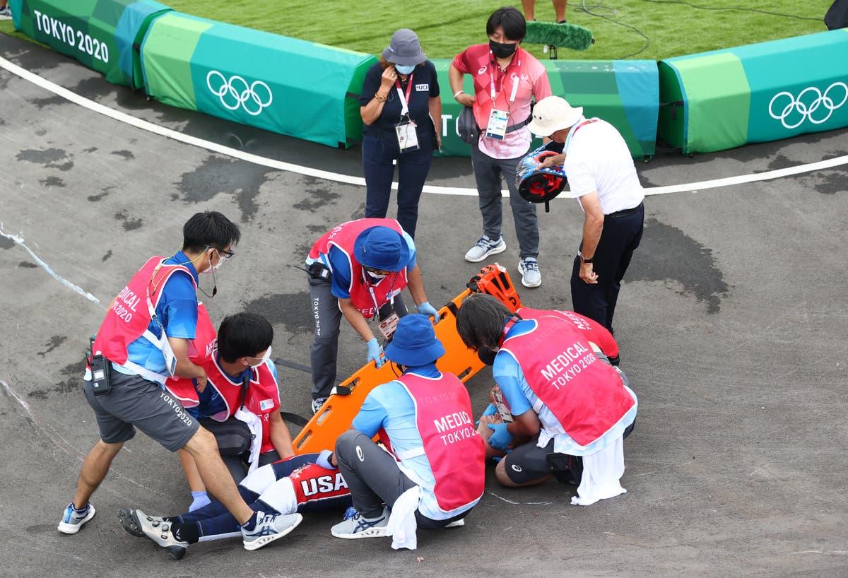 Team USA BMX star stretchered off Olympic course after big crash