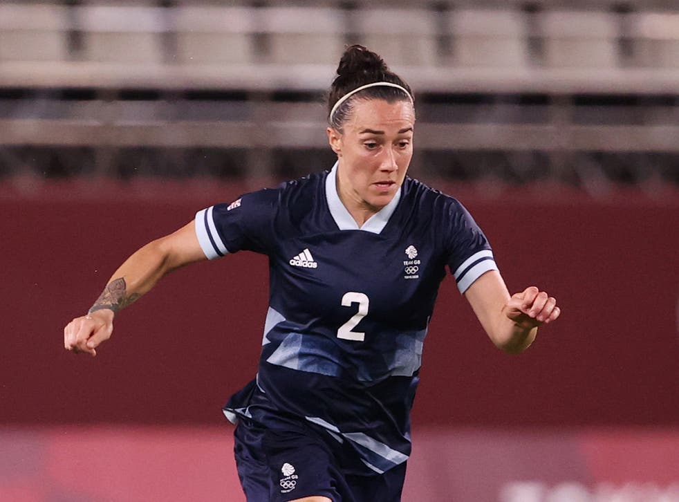 <p>Team GB and England defender Lucy Bronze in action against Canada</p>