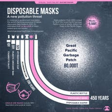 1.6 billion disposable masks entered the ocean in 2020 and will take 450 years to biodegrade