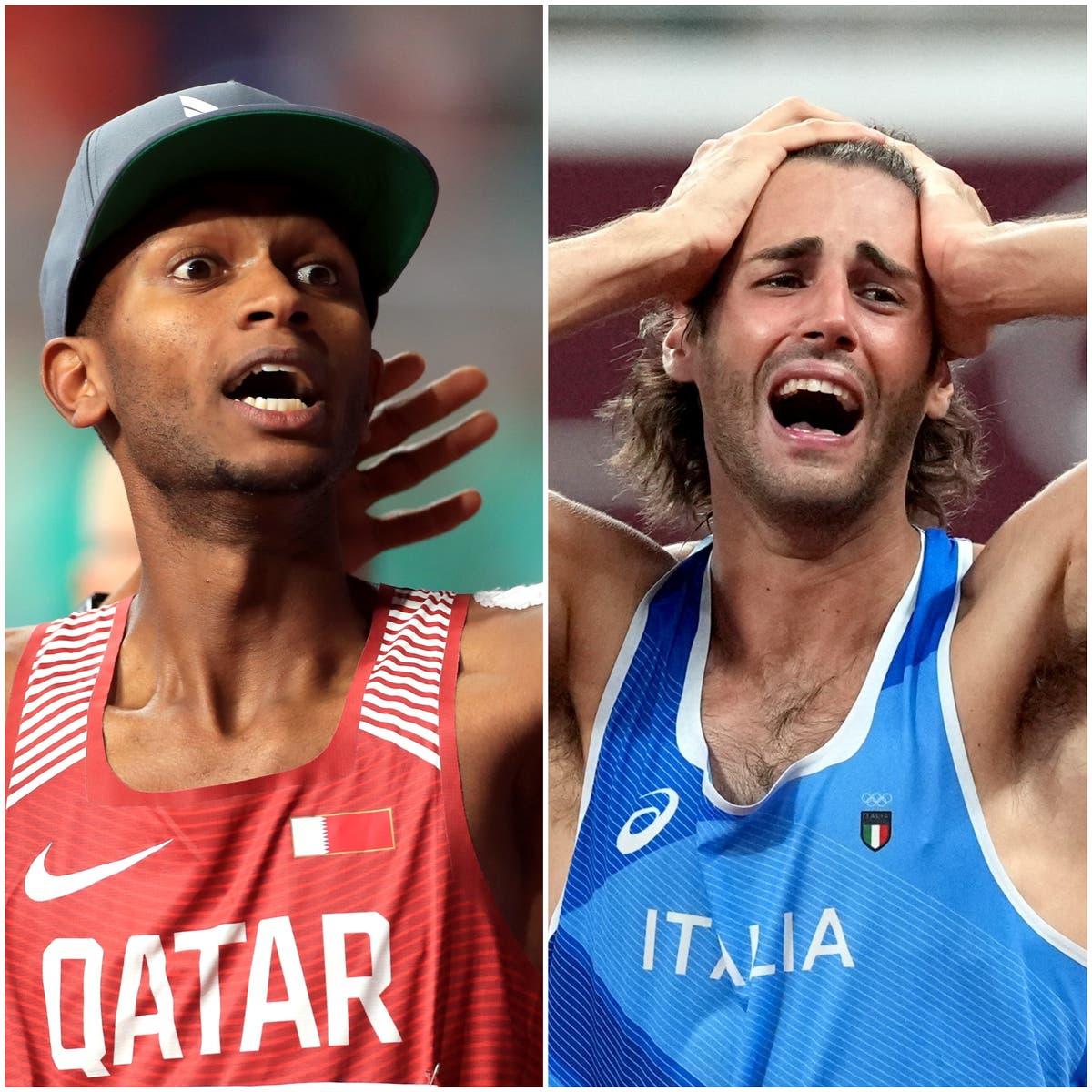 走り高跳びが歴史的な金メダルを共有するときの感情とスポーツマンシップ