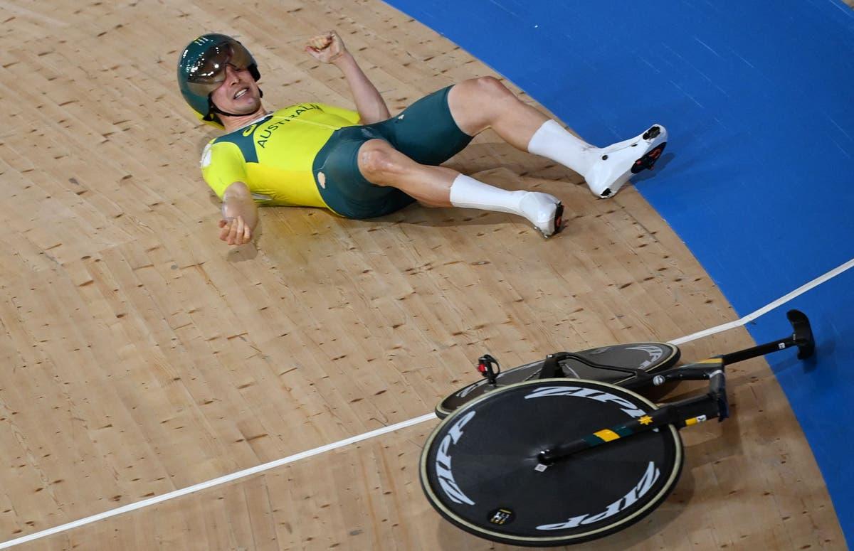 Olympic cyclist suffers freak crash after handlebars fall off bike