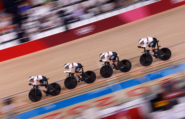 Germany compete in the women's team pursuit qualifying event at the Tokyo 2020 Olympic Games at Izu Velodrome