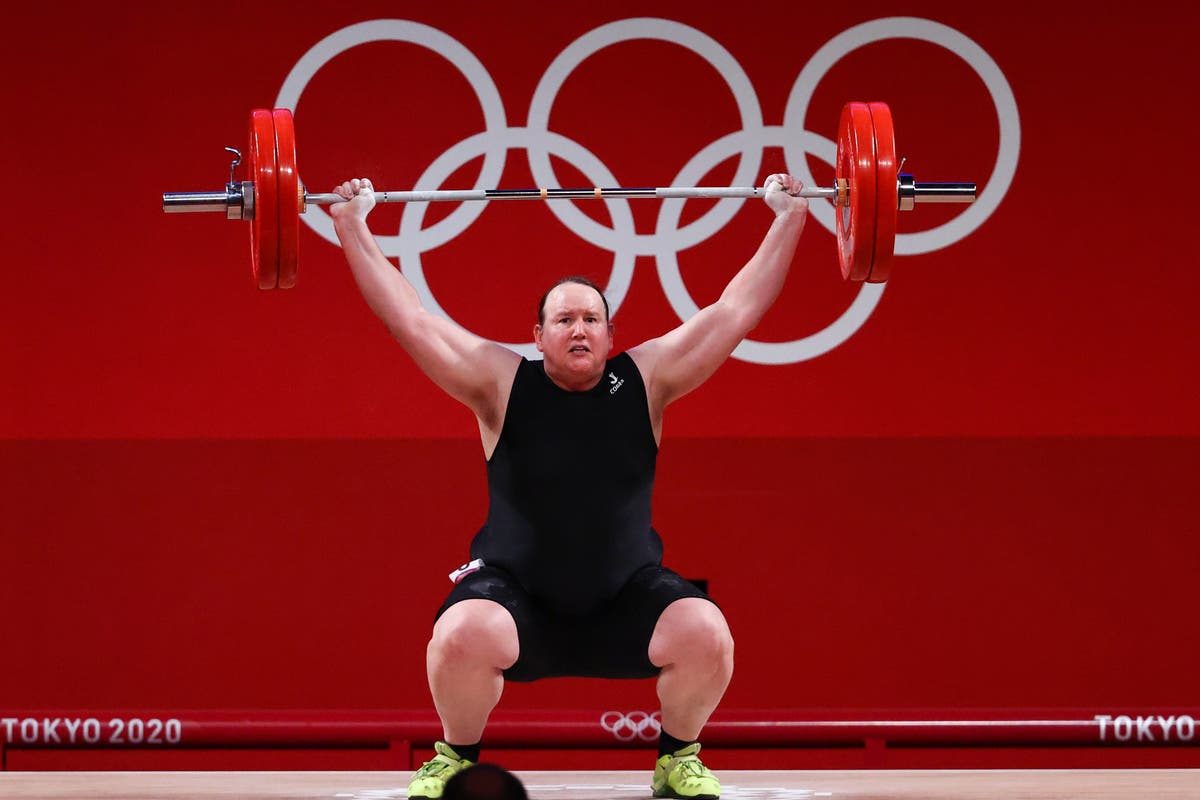 Medalists sit in silence after question about transgender weightlifter