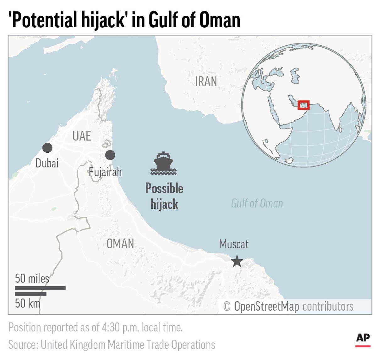 British navy group: 'Potential hijack' of ship off UAE coast