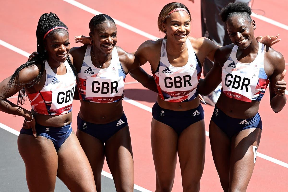 Team GB break national record in women's 4x100m relay heat