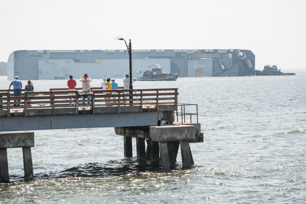 Capsized cargo ship spews oil on Georgia coast