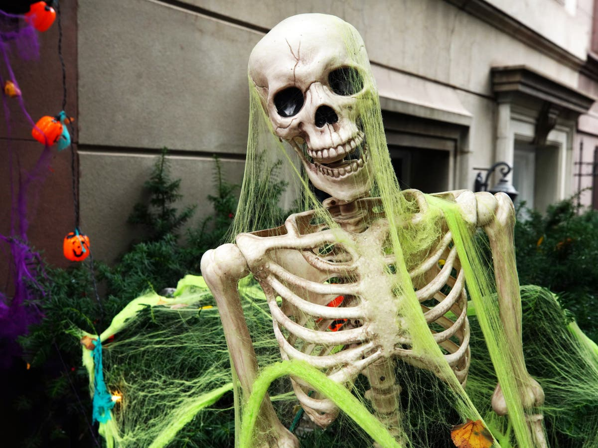 Man uses Halloween skeletons in grisly Covid vaccine display: 'I listened to Trump'