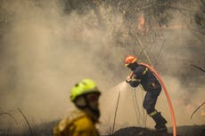 Greece fires: British firefighters deployed as 'very big battle' continues for fifth day