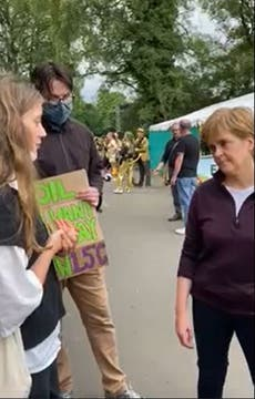 Nicola Sturgeon confronted by climate campaigners over failure to oppose Cambo oilfield