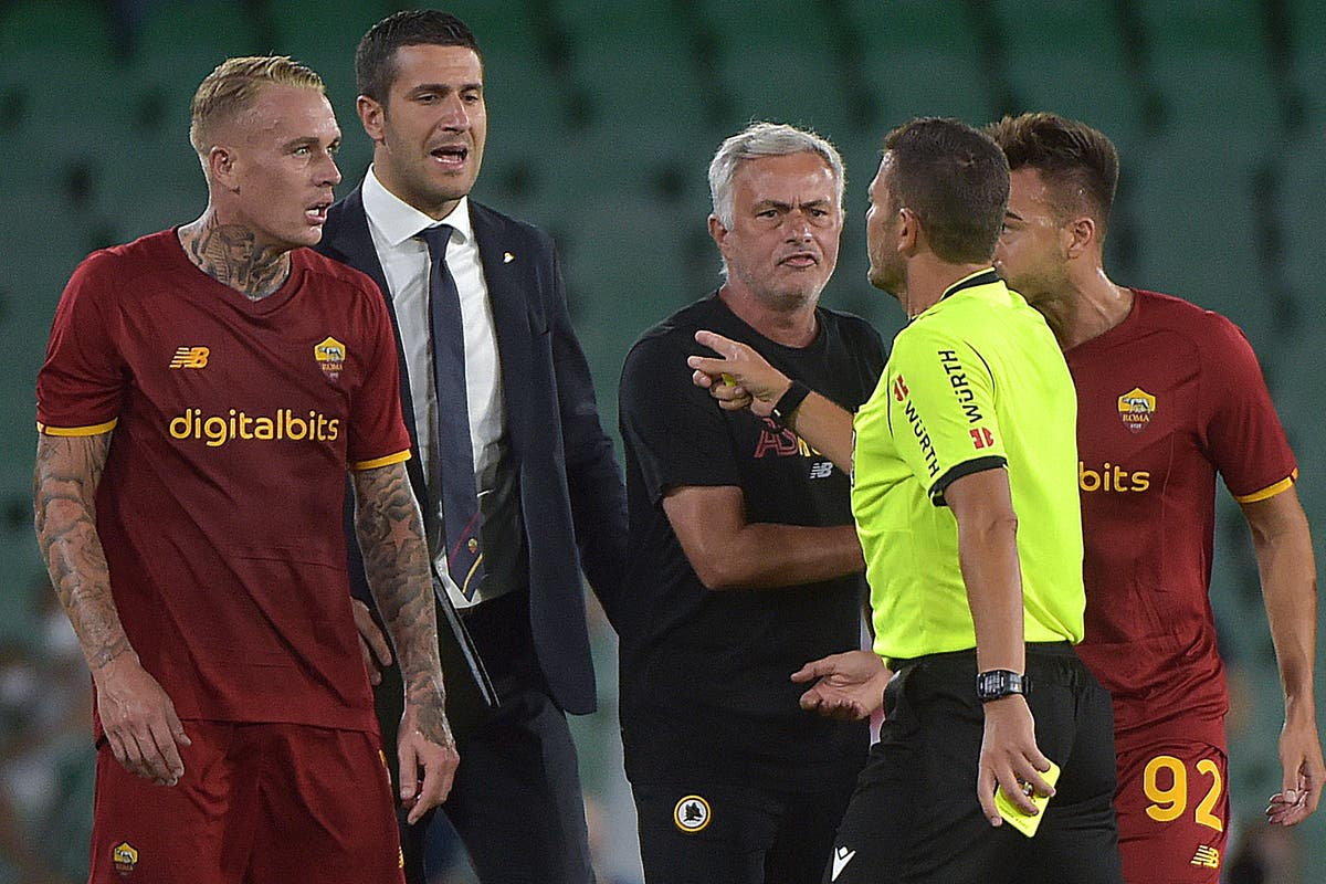 Jose Mourinho sent off as Roma finish with eight players in 5-2 friendly defeat