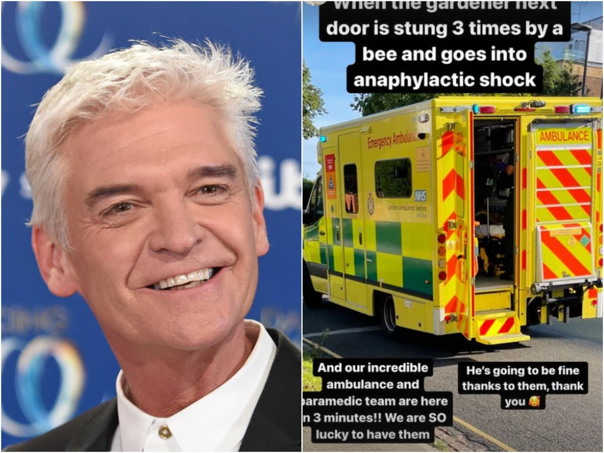 Phillip Schofield thanks 'incredible' emergency services for saving gardener who went into anaphylactic shock