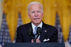 Biden points finger at Afghanistan officials and Trump as he stands behind decision to withdraw troops