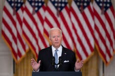 Biden silent on Afghanistan chaos as he promotes Covid booster shots and vaxx mandates