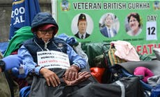 Gurkha on hunger strike outside Downing Street rushed to hospital with heart issues