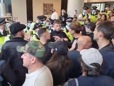 Anti-vax passport protesters storm ITN studios