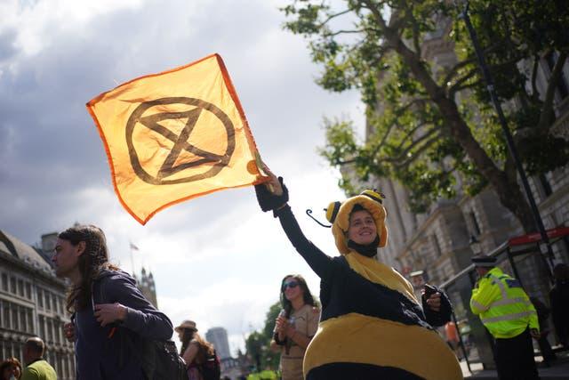 'N Betoger wat as 'n by geklee was tydens 'n protes deur lede van Extinction Rebellion op Whitehall, in die middel van Londen