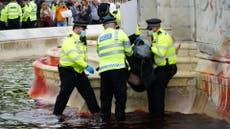 Buckingham Palace fountains covered in red paint by Animal Rebellion protesters