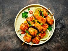 A little goes a long way with these saffron salmon kebabs