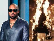 Kanye West sets himself on fire during Donda listening party
