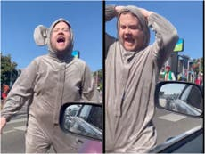 James Corden dresses as a mouse and thrusts at drivers to promote new musical