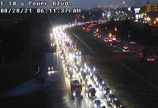 Pictures capture massive traffic jams as New Orleans residents flee Hurricane Ida