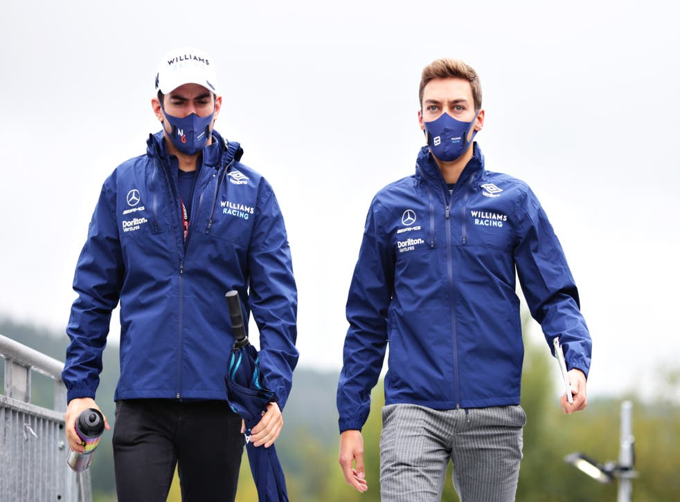 <p>Nicolas Latifi and George Russell arrive before the race</p>