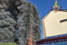 Flames consume high-rise in Milan; residents evacuated