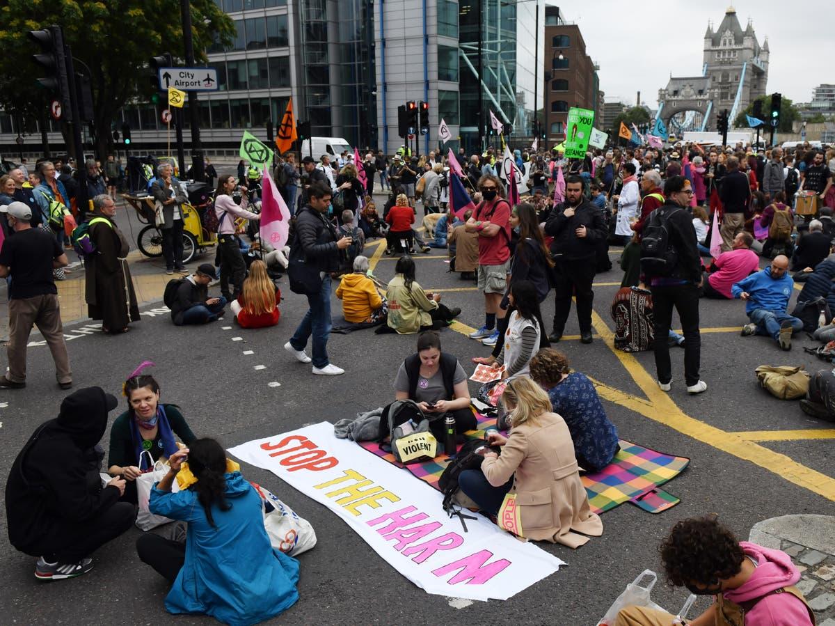 Extinction Rebellion protesters block Tower Bridge