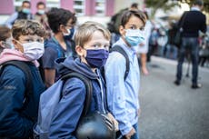 French children are back to school, wearing masks