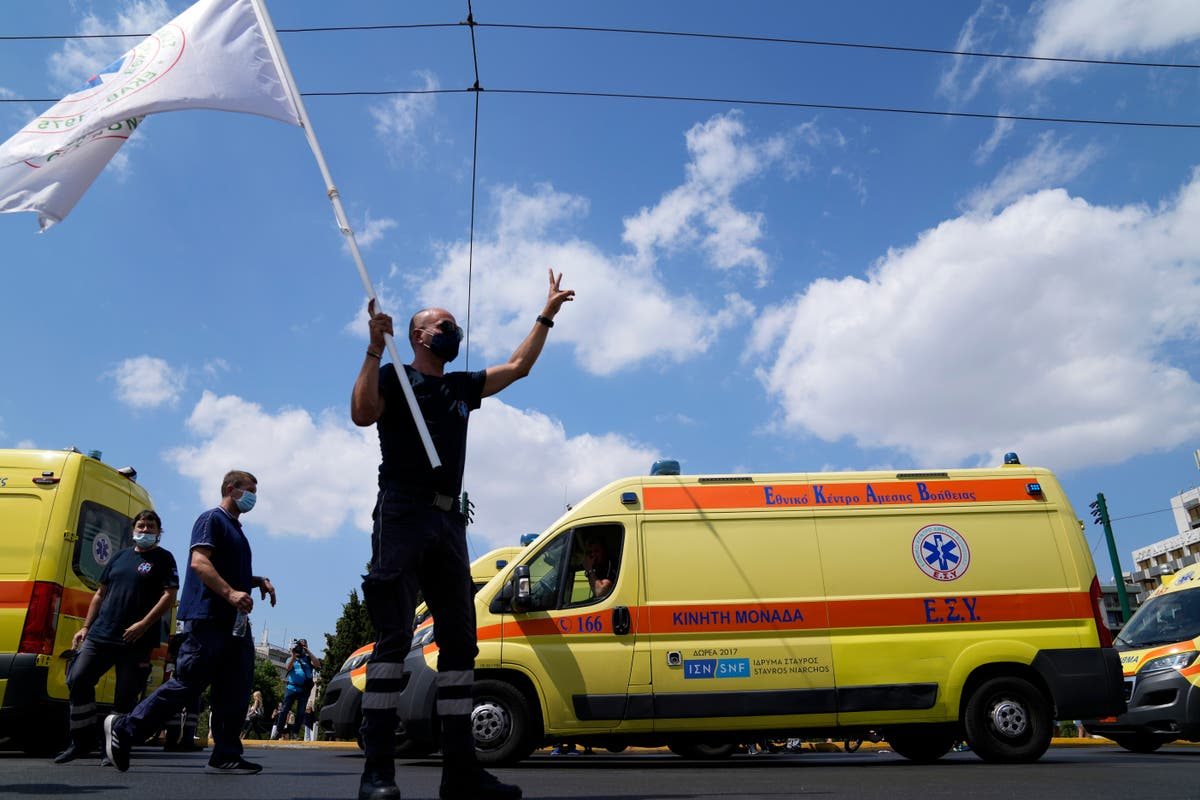 Greek health care workers protest compulsory vaccinations
