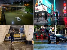 Disaster-movie like scenes of flooding in New York city subways as water comes barrelling out of carriages