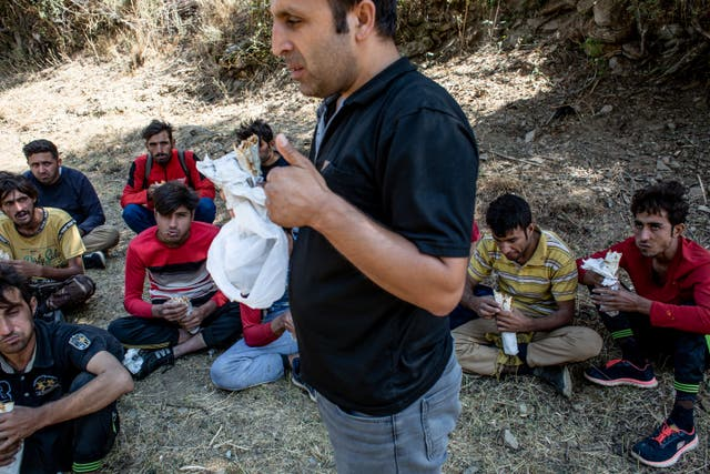 Mehmed Demirkol, a local villager who provides passer by Afghan refugees with food and water