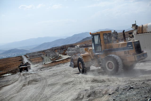 The mountain area in the Turkish Iranian border where Turkey is building a 64 km long wall