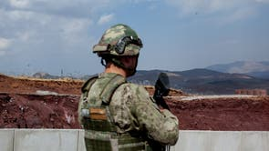 Parts of the 64 km wall Turkey is building on its border with Iran