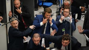 Traders in the Ring at the London Metal Exchange, in the City of London, after open-outcry trading returned for the first time since March 2020, when the Ring was temporarily closed due to the pandemic
