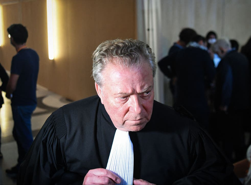 <p>French lawyer of the relatives of the victims of the Paris attacks, Olivier Morice, speaks to the press upon his arrival for the start of the trial </p>