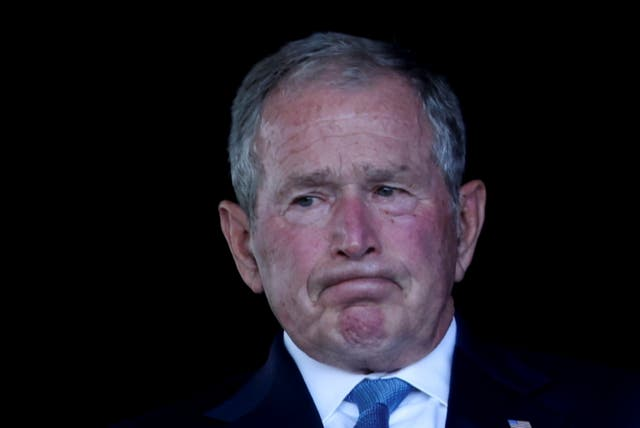 George Bush wells up at an event commemorating the 20th anniversary of the 9/11 attacks at the Flight 93 National Memorial in Stoystown, Pennsylvania