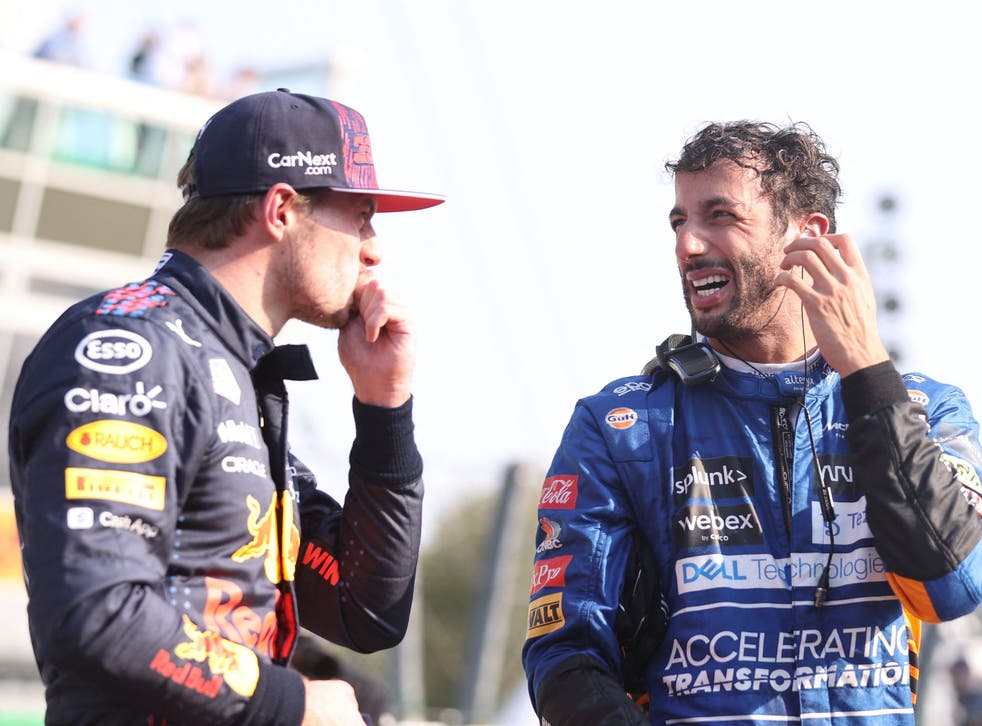 <p>Max Verstappen (left) starts on pole while Daniel Ricciardo is second on the grid</p>