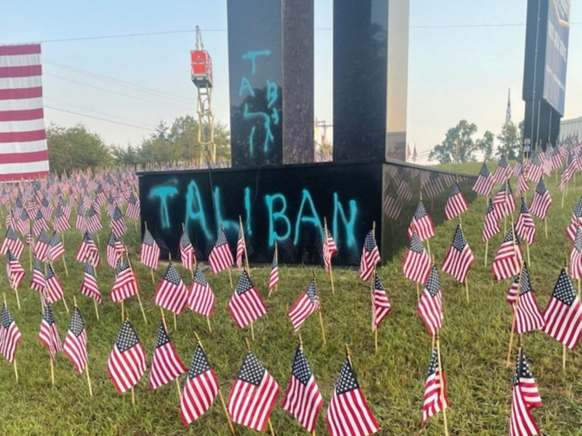 9/11 memorial in shape of Twin Towers defaced by word 'Taliban' in spray paint